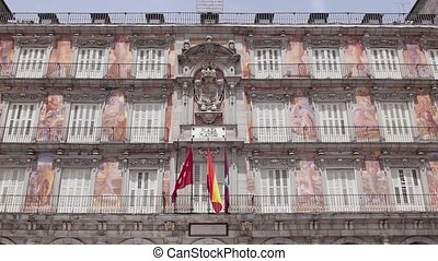 Madrid, Spain-Plaza Mayor and flags - Europe, capital...