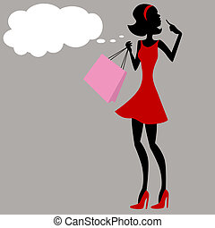 Shopping Girl Thinking - An image of a shopping girl...
