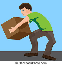 Man Lifting Box - An image of a man lifting a box.