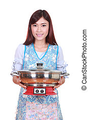 housewife with suki pot isolated on white background