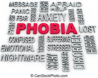 3d Phobia symbol conceptual design isolated on white....