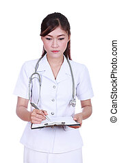 female nurse writing medical report isolated on white...
