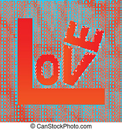 Love in different shades of orange and red on light blue background, typographic illustration, vector, eps 10