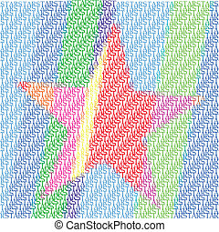 Star in different shades of red, blue, green, yellow, orange and purple on white background, typographic illustration, vector, eps 10