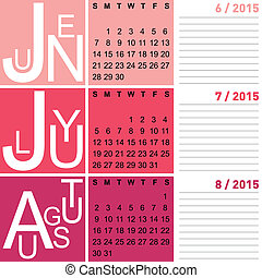 jazzy seasonal calendar summer 2015 including june, july and...