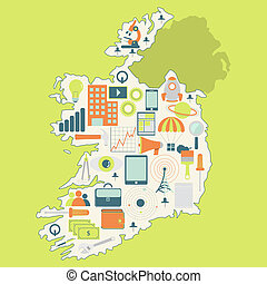Map of Ireland with technology icon - Contour map of Ireland...