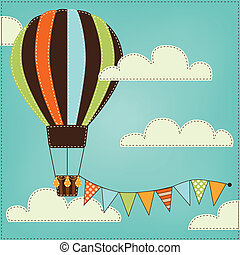 Vintage or retro hot air balloon in sky with clouds and...
