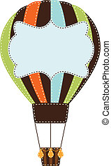 Vintage or retro hot air balloon on transparent background...