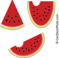 Group of three slices of watermelon, on a transparent...