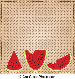 Group of three slices of watermelon, on a polka dot...