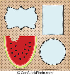 A slice of watermelon, with frames