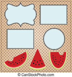 Three slices of watermelon, with frames for text or photos,...
