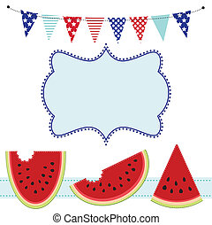 Three slices of watermelon and bunting or flags, with frame...