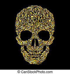 Skull pattern - Floral gold pattern of form skull on the...