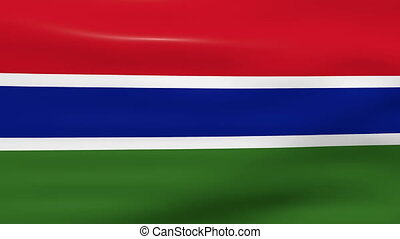 Waving Gambia Flag, ready for seamless loop