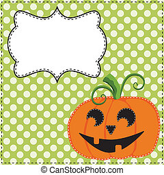 Jack o lantern or carved pumpkin on a green polka dot...