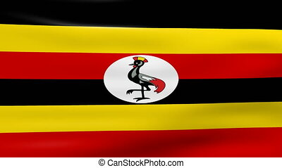 Waving Uganda Flag, ready for seamless loop