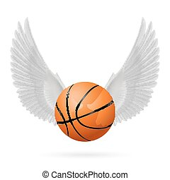 Wings inspiring - White wings with basketball on the white...