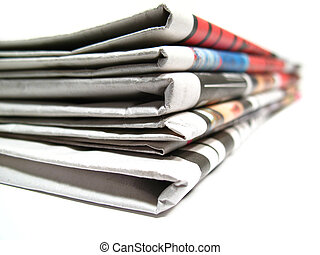News paper, stock of news isolated on white background