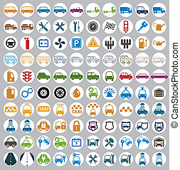 100 car and transport icons. - 100 car and transport icons,...