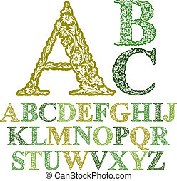 Beautiful floral letters font, vector alphabet