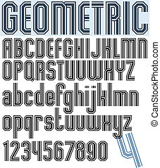 Poster black stylish narrow font and numbers, geometric...