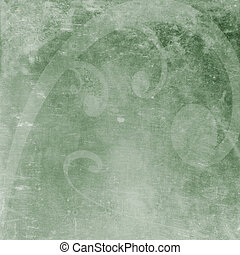 Green distressed background with grunge swirl
