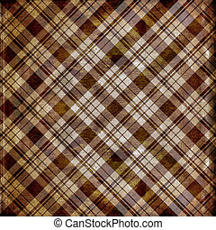 Shabby plaid in brown and tan grunge stripes - Grunge...