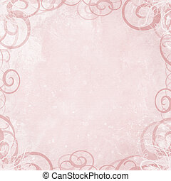 Pink shabby background with fancy swirl border - Framed...