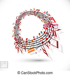 Red music background with clef and notes. - Expressive...
