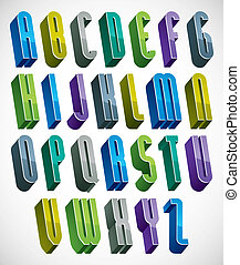 3d colorful letters tall alphabet made with round shapes. -...