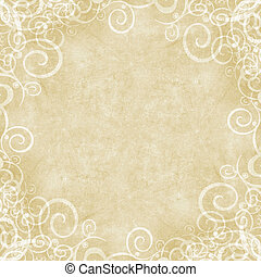 Tan and cream grunge swirl framed background - Natural...