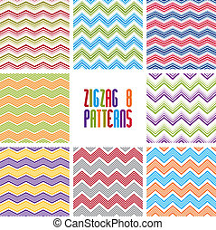Zig zag geometric seamless patterns set, vector backgrounds...