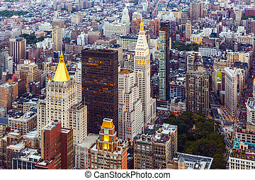 New York in the evening - skyline of New York in the evening