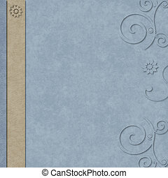 Blue and tan layered scrapbook page with swirl border - Blue...