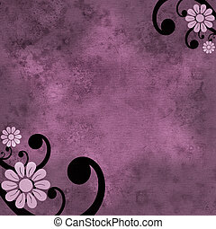 Pink and purple flower grunge background with black swirl -...