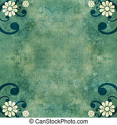 Shabby green vintage background with flowers and swirls -...