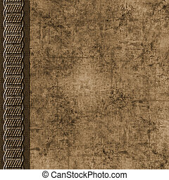 Brown layered grunge scrapbook background with braid border...