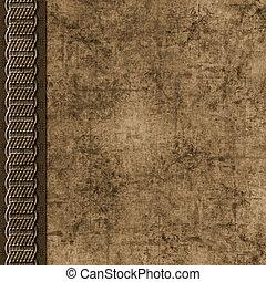 Brown layered grunge scrapbook background with braid border