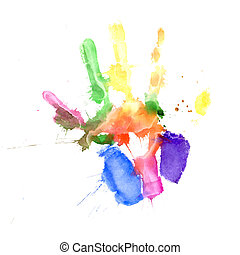 Handprint in vibrant colors - Print of a hand painted in...