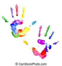 Handprint in vibrant colors of the rainbow - Left and right...