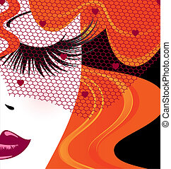 face of red-haired girl with red veil - abstract outlines...