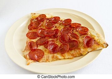 A slice of pepperoni pizza.