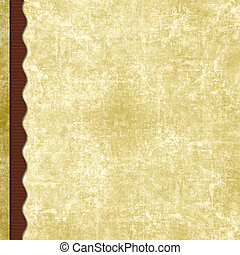 Layered old paper scrapbook background with wavy border -...