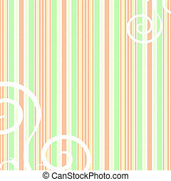 Retro peach and green striped background with swirls -...