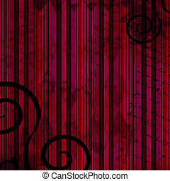Dark grunge background in red, pink and black with swirls -...