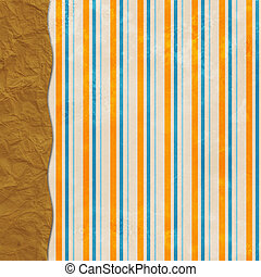 Layered striped background with brown paper sack border -...
