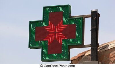 Pharmacy sign with thermometer