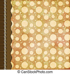 Retro background in brown with triple border and braid -...