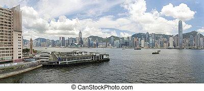 Hong Kong Island View from Kowloon Panorama